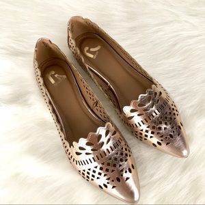 Report Rose Gold Scallop Flats Pointed Toe Eyelet